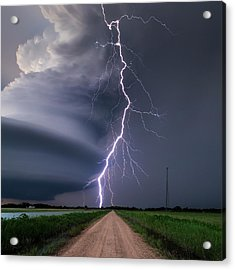 Lightning Bolt From A Super-cell Acrylic Print by John Finney Photography