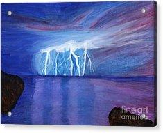 Lightning On The Sea At Night Acrylic Print