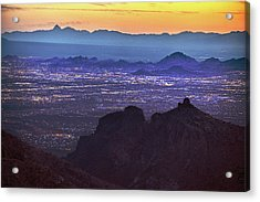 Lights Of Tucson At Twilight  Acrylic Print