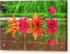 Lilies And Roses Reflection Acrylic Print