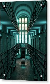 Acrylic Print featuring the digital art Lincoln Castle Prison In Blue by Scott Lyons