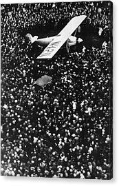 Lindbergh Arrives In Croydon Acrylic Print by Fpg