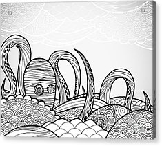 Line Art Octopus In Textured Waves Acrylic Print