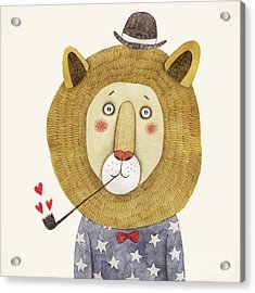 Lion In Hat And With A Pipe Drawing Acrylic Print