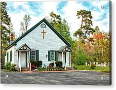 Acrylic Print featuring the photograph Little Church In The Pines by Kristia Adams