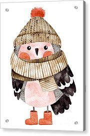 Little Cute Bullfinch With Winter Hat Acrylic Print