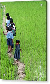 Acrylic Print featuring the photograph Little Indian Girl Waving by Tim Gainey