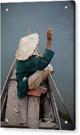 Local Man In Traditional Vietnamese Hat Acrylic Print