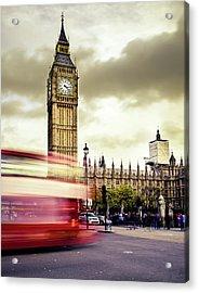 London Double Decker Bus Near Big Ben Acrylic Print