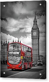 London Houses Of Parliament And Red Bus Acrylic Print