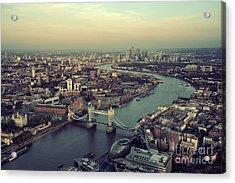 London Rooftop View Panorama At Sunset Acrylic Print