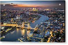 London Skyline With Tower Bridge At Acrylic Print by Tangman Photography