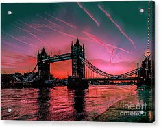 London Tower Bridge Sunrise Pano Acrylic Print