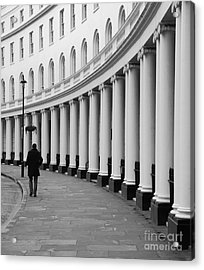Lone Figure Walking Along Londons Park Acrylic Print
