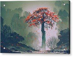 Lonely Red Autumn Tree With Falling Acrylic Print by Tithi Luadthong