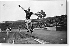 Long Jump Acrylic Print by Topical Press Agency