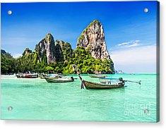 Longtale Boats At The Beautiful Beach Acrylic Print