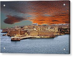 Looking Across Harbor From Fort St Elmo To  Fort Rikasoli Acrylic Print