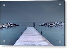 Looking Down A Dock On A Wintery Day Acrylic Print