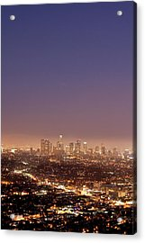 Los Angeles Skyline At Twilight Acrylic Print by Uschools