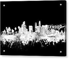 Los Angeles Skyline Black And White 2 Acrylic Print