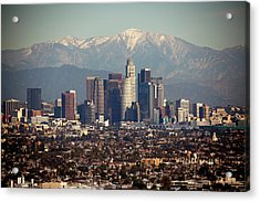 Los Angeles Skyline With Snow Capped Acrylic Print