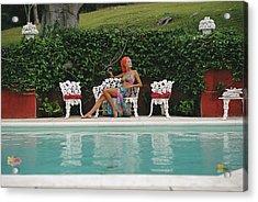 Lounging In Bermuda Acrylic Print by Slim Aarons