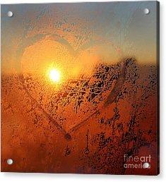 Love Symbol Drawn On The Frozen Winter Acrylic Print