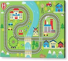 Lovely City Landscape Train Track Play Acrylic Print