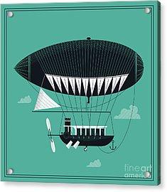Lovely Vector Airship Illustration | Acrylic Print by Mascha Tace