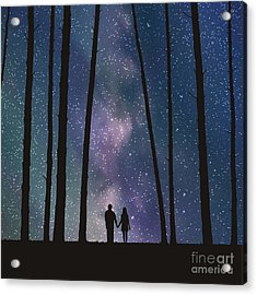 Lovers In Forest. Vector Illustration Acrylic Print
