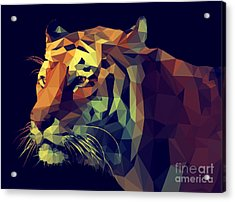 Low Poly Design. Tiger Illustration Acrylic Print