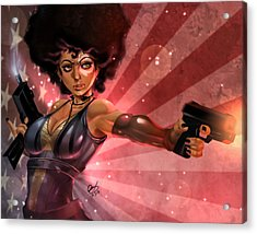 Acrylic Print featuring the painting Lucky Domino by Pete Tapang