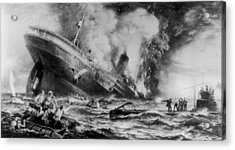 Lusitania Sunk Acrylic Print by Three Lions