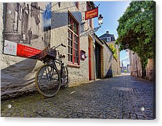 Acrylic Print featuring the photograph Lux Cobblestone Road Brugge Belgium by Nathan Bush