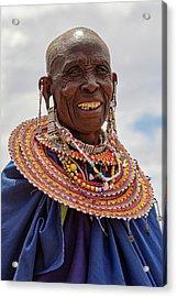 Maasai Woman In Tanzania Acrylic Print