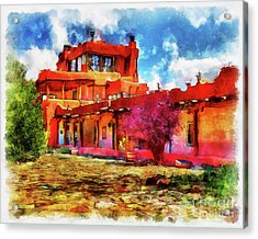 Mabel's Courtyard In Aquarelle Acrylic Print