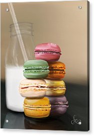 Acrylic Print featuring the pastel Macaroons  by Fe Jones
