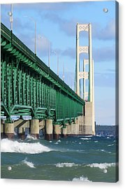 Mackinac Bridge And Waves Acrylic Print