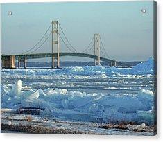 Mackinac Bridge In Ice 2161801 Acrylic Print