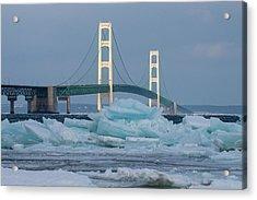 Mackinac Bridge In Ice 2161809 Acrylic Print