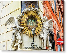 Madonna Del Archetto Angels Statues Acrylic Print by William Perry