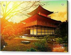 Magical Sunset Over Kinkakuji Temple Acrylic Print