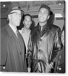 Malcolm X Left With Cassius Marcellus Acrylic Print by New York Daily News Archive