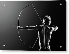 Male Archer Drawing Long Bow Acrylic Print