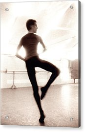 Male Ballet Dancer Practicing In Dance Acrylic Print by Ade Groom