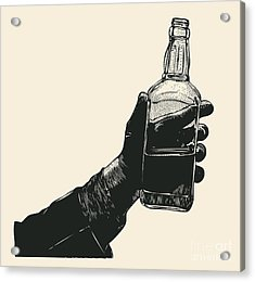 Male Hand Holding Bottle Of Whiskey Acrylic Print