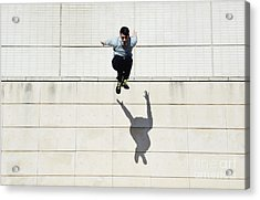 Male Tracer Free Runner Jumping Forward Acrylic Print