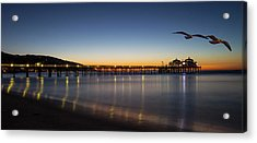 Malibu Pier At Sunrise Acrylic Print