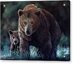 Mama Brown With Cubs Acrylic Print